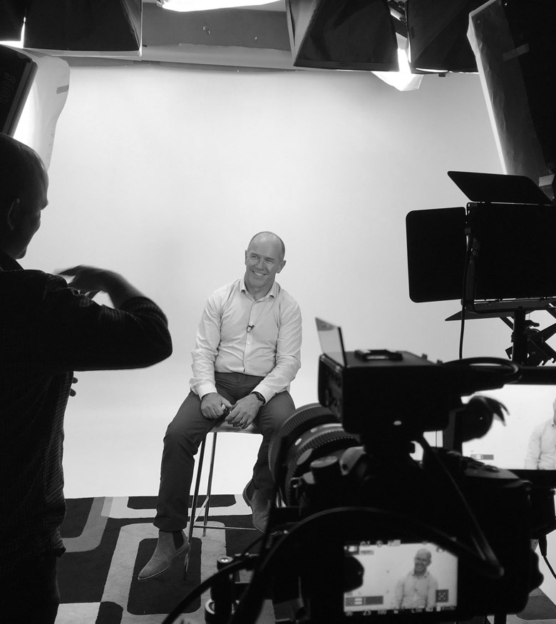 Studio shoot for anniversary corporate video